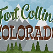 Fort Collins Colorado Snowy Mountains	 Art Print