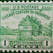 Fort Dearborn Postage Stamp Art Print