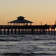 Fort Myers Beach Pier Sunset Art Print