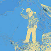 Fossil Hunter Blue Yellow Art Print
