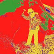 Fossil Hunter Red Yellow Green Art Print
