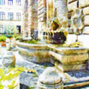 Fountain On The Facade Of The Municipality Art Print