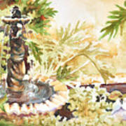 Fountain With Clay Birds Art Print