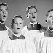 Four Choir Boys Singing, C.1950-60s Art Print