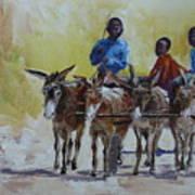 Four Donkey Drawn Cart Art Print