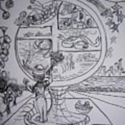 Four Food Groups Bw Art Print