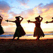 Four Hula Dancers At Sunset Print by David Olsen