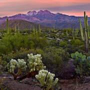 Four Peaks Sunset Art Print