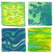 Four Squares Blue, Green, Yellow Art Print