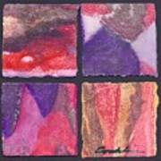 Four Squares Purple, Red, Brown, Lavender Art Print