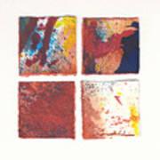 Four Squares Red Flow Art Print