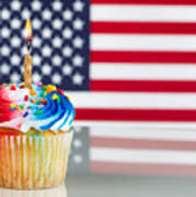 Fourth Of July Cupcake With Light Candle  Art Print