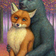 Fox And Bear Couple Art Print