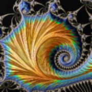 Fractal Art - Blue And Gold Art Print