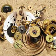 Fragmented Clockwork In The Sand Art Print