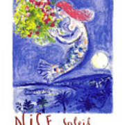 France Nice Soleil Fleurs Vintage 1961 Travel Poster By Marc Chagall Art Print