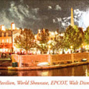France Pavilion At Night With Fireworks, Epcot, Walt Disney Worl Art Print