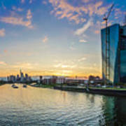 Frankfurt Am Main Skyline At Sunset Art Print
