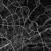 Frankfurt Germany Dark Map Art Print