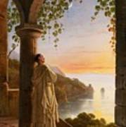 Franz Ludwig Catel  A Monk Meditating In A Cloister Art Print