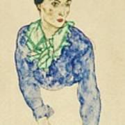 Frauenbildnis Mit Blauem Und Grunem Art Print