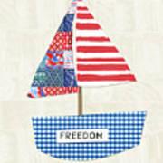 Freedom Boat- Art By Linda Woods Art Print