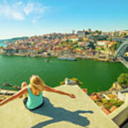 Freedom Woman At Douro River Art Print