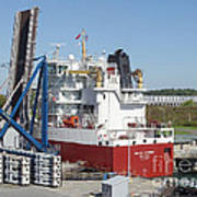 Freighter In Lock Of Saint Lawrence Art Print