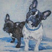 French Bulldog Mom And Pup Art Print