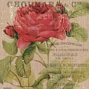 French Burlap Floral 1 Art Print