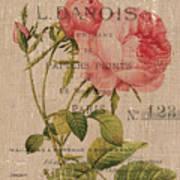 French Burlap Floral 2 Art Print
