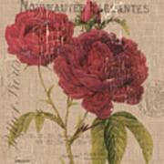 French Burlap Floral 3 Art Print