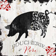French Farm Sign Piglet Art Print