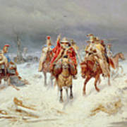 French Forces Crossing The River Berezina In November 1812 Art Print
