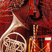 French Horn Christmas Still Life Art Print