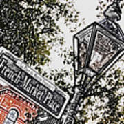 French Quarter French Market Street Sign New Orleans Colored Pencil Digital Art Art Print