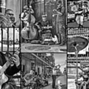 French Quarter Musicians Collage Bw Art Print