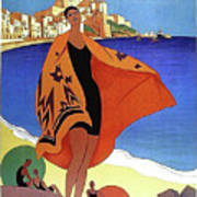 French Riviera, Woman On The Beach, Paris, Lyon, Mediterranean Railway Art Print