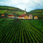 French Village In The Vineyards Art Print