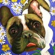 Frenchie Plays With Frogs Art Print
