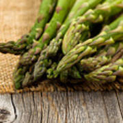 Fresh Asparagus On Napkin And Rustic Wood  Art Print