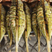 Fresh Grilled Asian Fish In Kep Market Cambodia Art Print