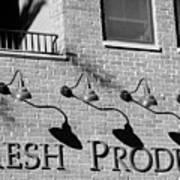 Fresh Produce Signage Black And White Art Print