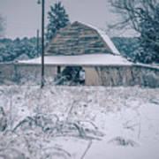 Fresh Snow Sits On The Ground Around An Old Barn Art Print
