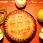 Freshly Baked Pie Surrounded By Apples On Table Art Print