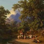 Frey  Johann Jakob 1813 Basel   1865 Frascati  Wedding Procession Of Italian Farmers Art Print