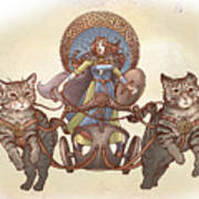 Freya And Her Cat Chariot-garbed Version Art Print