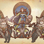 Freya Driving Her Cat Chariot - Triptic Garbed Version Art Print