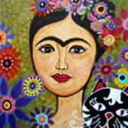 Frida Kahlo And Cat Art Print