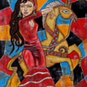 Frida Kahlo Dancing With The Unicorn Art Print